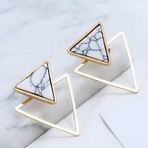 Gold Triangle Marble Ear Jacket Earrings NWT